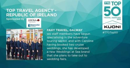Fahy Travel Galway We Win TTG Top Travel Agency In Ireland !!